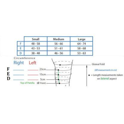 BiaCare CompreKnee 30-40mmHG Size Chart