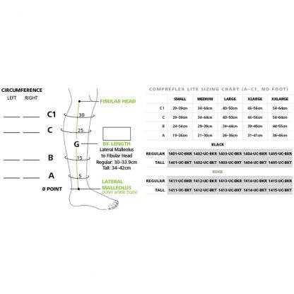 Biacare CompreFLEX LITE Below the Knee Wrap Sizing Chart