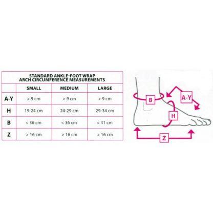 CircAid JuxtaFit Premium Ankle Foot Wrap Size Chart