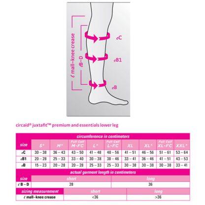 CircAid JuxtaFit Premium Lower Legging Size Chart