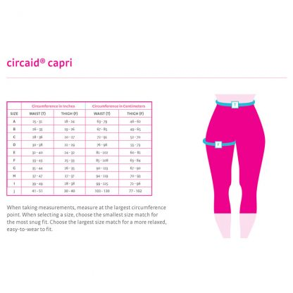 Circaid Comfort Capri Size Chart