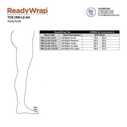 Solaris ReadyWrap Toe Size Chart
