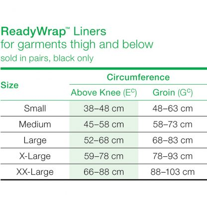 Solaris Thigh Silver Liner Size Chart