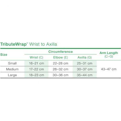 TributeWrap Arm Size Chart