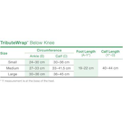 TributeWrap - Below Knee Size Chart